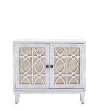 rustikales Sideboard mit champagner farbener Spiegelfront und elegantem Trellismuster