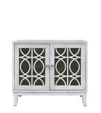 rustikales Sideboard mit schwarzer Spiegelfront und elegantem Trellismuster