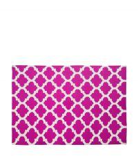 Wollteppich mit geometrischem Muster - pink & creme 120 x 180 cm