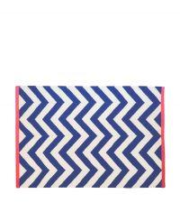 Wollteppich mit Zickzack-Muster - dunkelblau & creme 120 x 180 cm