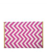 Wollteppich mit Zickzack-Muster - pink & creme 120 x 180 cm