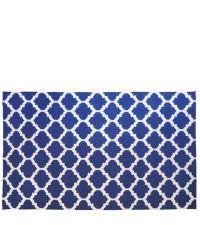 Wollteppich mit geometrischem Muster - dunkelblau & creme 150 x 240 cm