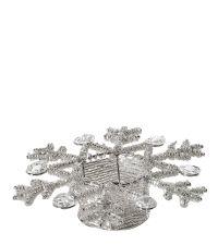 runder Teelichthalter Schneeflocke aus kleinen Perlen und großen Dekosteinen gold-silber