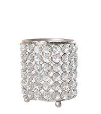 runder Kerzenhalter verziert mit lauter glänzenden Dekosteinen und einem metallischen Rahmen