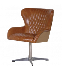 Drehstuhl mit braunem Lederbezug und Chromfuß im Retro-Style