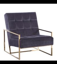 eleganter Armlehnsessel mit goldenem Metallrahmen und dunkelgrauem Samtbezug