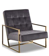 moderner Armlehnsessel mit goldenem Metallrahmen und grauem Samtbezug