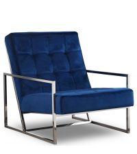 moderner Armlehnsessel mit silbernem Metallrahmen und blauem Samtbezug