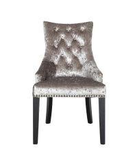 stilvoller Armlehnsessel mit Nietendetails & Samtbezug, Samstuhl mit schwarzen Holzfüßen, silber/taupe