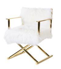 edler Armlehnstuhl mit echtem Schaffellbezug, glänzend gold