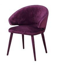 stylischer Sessel mit Samtbezug und runder Lehne, lila