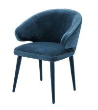 stylischer Sessel mit Samtbezug und runder Lehne, türkis, Eichholtz