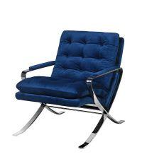 Armlehnsessel mit blauem Samtüberzug, Polstern mit Knopfheftung und überkreuzten Stahlfüßen, rostfrei