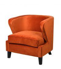 orangener Samt-Armlehnsessel mit Kederrand, dickem Sitzpolster und schwarzen Füßen
