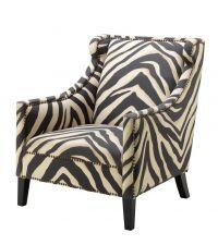 Armlehnsessel mit Zebra-Print, kupferfarbenen Nieten-Details und schwarzen Holzfüßen, Eichholtz