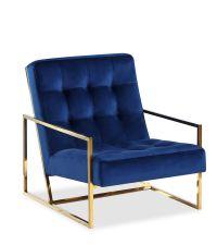 moderner Armlehnsessel aus Samt mit goldenem Metallrahmen und blauem Samtbezug