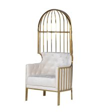 pompöser Samt-Armlehnstuhl im Cage-Style mit hoher Rückenlehne, gold