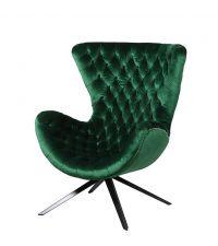 smaragdgrüner Drehstuhl im Retro-Style mit Samtbezug und Knopfheftung