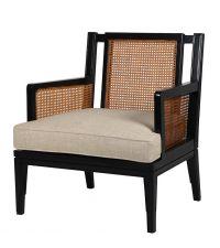 Armlehnstuhl mit Rückenlehne aus geflochtenem Holz, schwarz