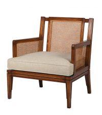 Armlehnstuhl mit Rückenlehne aus geflochtenem Holz, braun