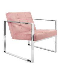 Armlehnstuhl mit Chromrahmen & rosa Samtbezug