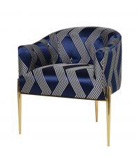 eleganter Armlehnstuhl mit geometrisch gemustertem Satinbezug, dunkelblau & gold