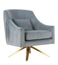 trendiger Drehstuhl mit Lehnen & gerafftem, blauen Samtbezug und goldenem Fuß