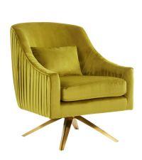trendiger Drehstuhl mit Lehnen & gerafftem, olivgelben Samtbezug und goldenem Fuß