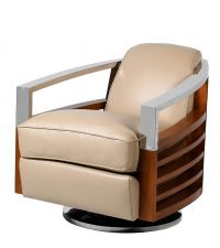 beiger Drehstuhl im Retro-Style mit beigem Lederbezug & Lehne aus Holz und Chrom