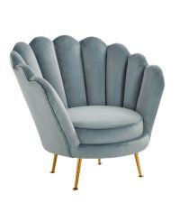 zarter, muschelförmiger Samtstuhl mit hellblauem Bezug und goldenen Füßen