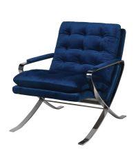 moderner Armlehnstuhl mit gekreuzten Chromfüßen & blauem Samtbezug