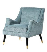 eleganter, blauer Armlehnstuhl im Retro-Style mit Cord-Bezug & schwarz-goldenen Füßen