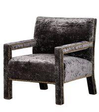 eleganter Armlehnstuhl mit gemustertem Samtbezug & Nietenbesatz, anthrazit