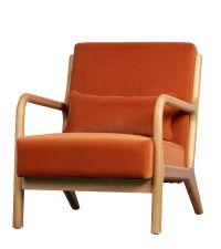 Samt-Armlehnstuhl mit Holzrahmen & Lehnen, orange