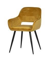 2er-Set Essplatzstuhl mit Armlehnen mit Samtbezug, honiggelb