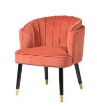 eleganter, gerundeter Armlehnstuhl mit gerillter Lehne mit Samtbezug, korallenfarben