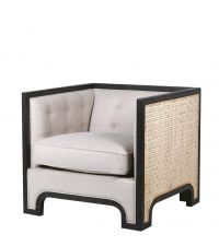 Armlehnstuhl mit hohen Lehnen aus Rattan mit schwarzem Holzrahmen & Samtbezug, naturfarben