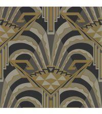 Tapete im Art Déco Stil mit großer Musterung, schwarz, grau & gold