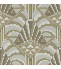 elegante Tapete im Art Déco Stil mit großer geometrischer Musterung, grau, taupe & gold