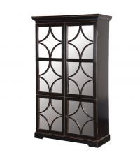 asiatischer Schrank aus Holz schwarz mit vier Türen mit Spiegelfront
