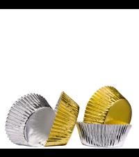 Papierbackförmchen für Cupcakes und Muffins metallic beschichtet Gold und Silber