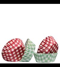 Papierbackförmchen für Cupcakes und Muffins rot und grün kariert