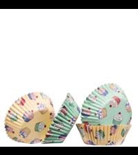 Papierbackförmchen für Cupcakes und Muffins Pastell mint und gelb