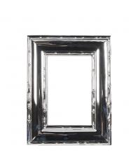 moderner Bilderrahmen mit Rahmen in Bambus-Optik glänzend silber