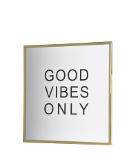 glamouröses Wandbild 'good vibes only' weiß/gold