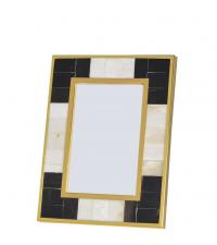 Bilderrahmen mit doppeltem Goldrahmen, schwarz gold Perlmutt