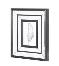 großer Bilderrahmen mit Spiegelrahmen mit Facettenschliff und Holzeinfassung schwarz