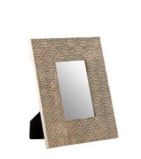 großer Bilderrahmen mit metallischem Rahmen mit strukturiertem Karomuster, antik gold