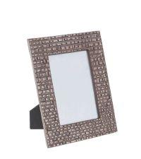 metallisch, schimmernder Bilderrahmen mit strukturiertem Aluminiumrahmen, taupe dunkel