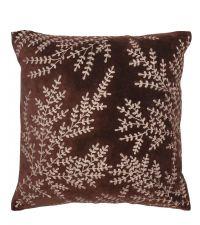 braune Kissenhülle aus Samt bestickt mit silber-metallischem Floral-Muster